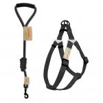 Round leash + harness set - Black