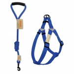 Round leash + harness set - Blue