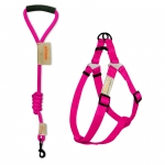 Round leash + harness set - Pink