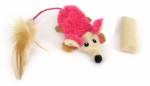 Non-stuffed Mouse with Catnip Bag - hot pink