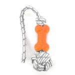 TPR Bone With Gray Cotton Rope - Blood Orange