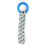 Braided Gray Cotton Rope With TPR Ring - Deep Blue