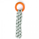 Braided Gray Cotton Rope With TPR Ring - Blood Orange