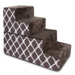 Foldable Stairs - Chocolate Brown with Lattice Print