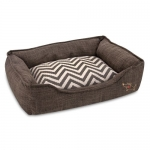 Square Linen Pet Bed - Brown