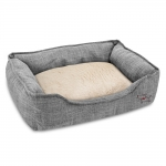 Square Linen Pet Bed - Gray